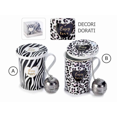 tazza con coperchio design animalier