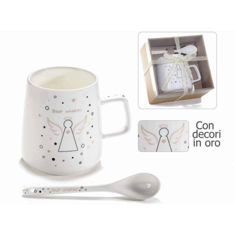 tazza in porcellana con decori angeli in oro