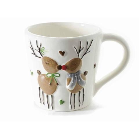 tazza con disegni renne in rilievo