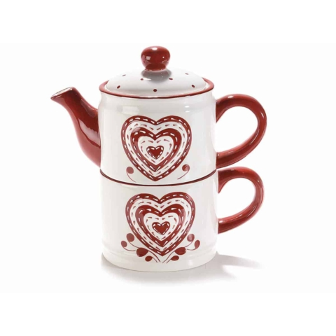 Teiera e tazza in ceramica con decori a cuore in rilievo
